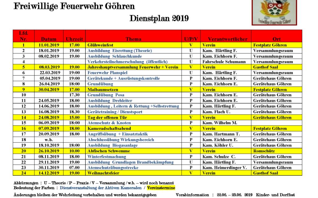 Neuer Dienstplan FFW 2019