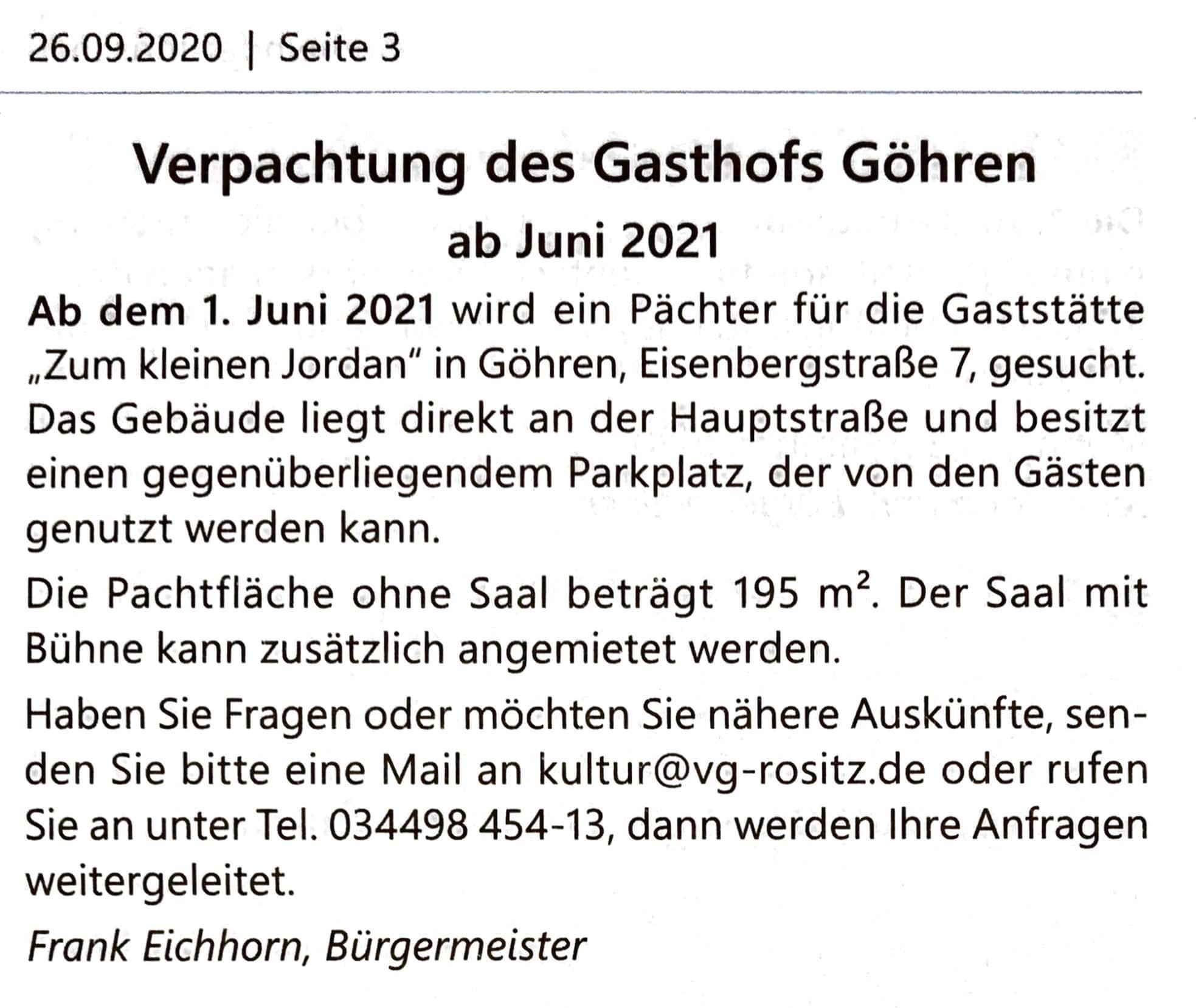 Pächter für Gasthof in Göhren gesucht!