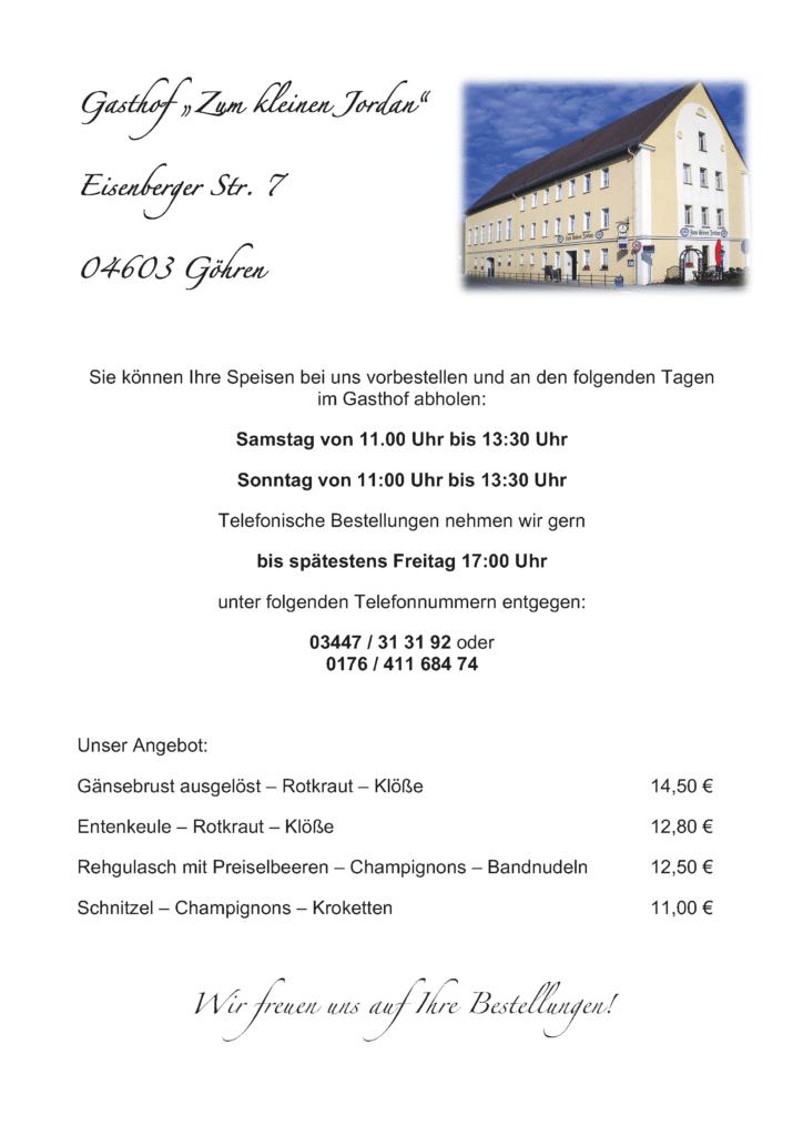 """Bestellung zur aktuellen Speisekarte der Gaststätte """"Kleiner Jordan"""""""