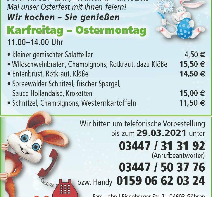"""(letztes) Osteressen von der Gaststätte """"Zum kleinen Jordan"""""""