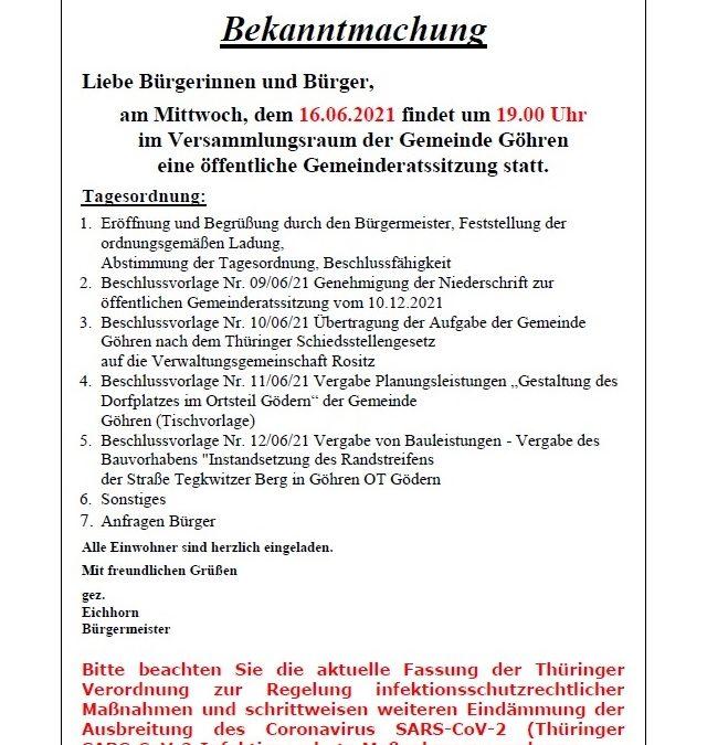 Gemeinderatssitzung 16.06.2021